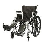 "Healthline 20"" Wheelchair with Padded Desk Arm Flip Back w/Padded Calf Pads Elevating Legrests"