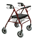Healthline 4 Wheel Rollator Heavy Duty W/Handle Brakes